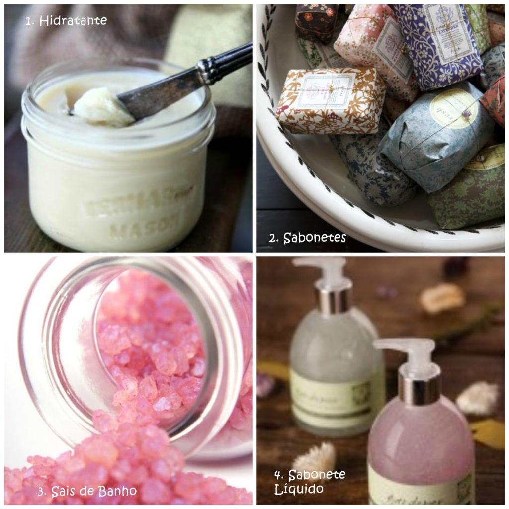 Creme Hidratante, Sabonetes em Barra e líquido e Sais de Banho são ótimas lembranças de Chá de Lingerie
