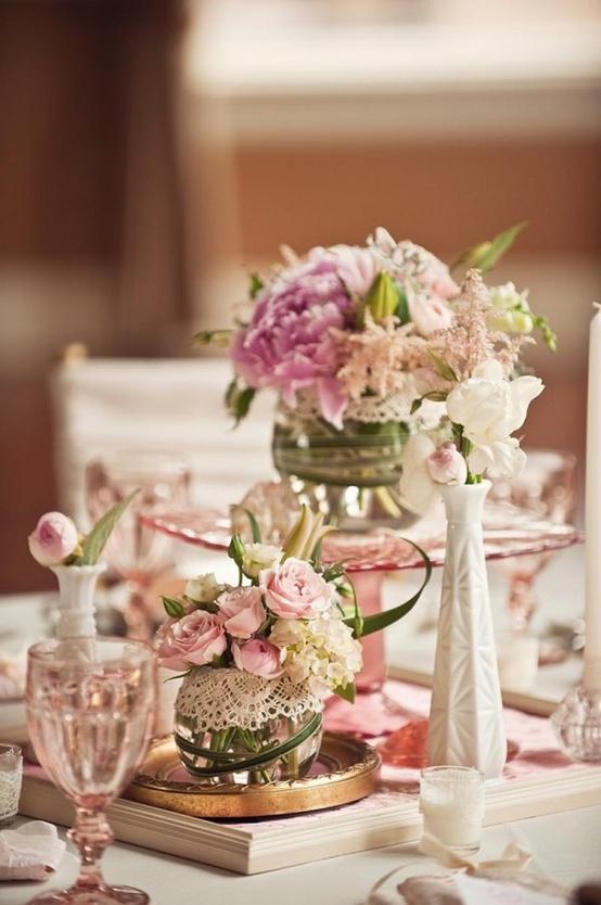 decoracao vintage rosa