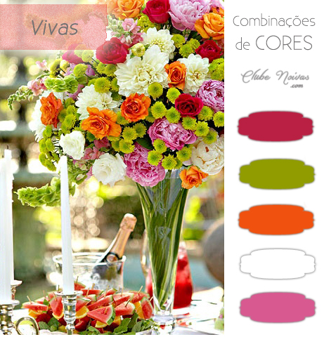 Combinação de Cores Vivas Para Decoração - Rosas, Laranja e Verde