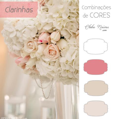 Combinações de Cores Clarinhas - Decoração do Casamento - Rosas, bege e branco
