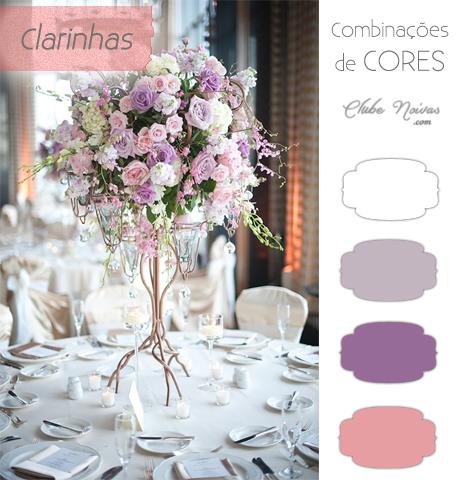 Combinações de Cores Clarinhas - Decoração de Casamento - Tons de Lilás e rosa