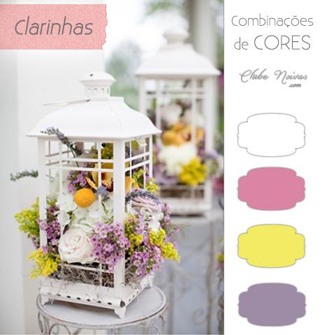 Arranjo Luminária branco, lilás, rosa e amarelo